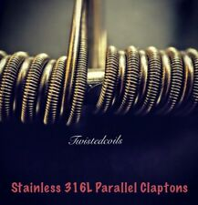 (8) Stainless Steel 316L Parallel Claptons (Staged Mod Rda Rba Coils) + Cotton
