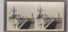 COLLECTION PHOTO STEREO- PARIS- LE PONT ALEXANDRE III-STATUES-REVERBERES