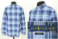 Mens Ralph Lauren Slim Fit Shirt Blue Cotton Check Long Sleeve Size XXL / 2XL