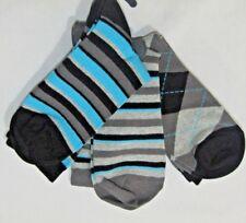 3 pack Teen Grey Black Blue Striped Argyle Socks 37-40 H8