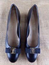 SALVATORE FERRAGAMO Vara Bow Croc Ballet Black Leather Pump Women 11.5 AA $550