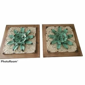 Floral Metal and Wood Wall Art Set of 2