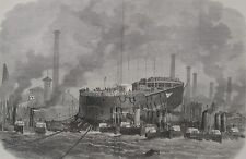 "1866 Large Antique Engravings - Launch of HMS ""Northumberland"" - Millwall Docks"