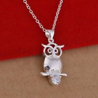 Women 925 Sterling Silver Crystal Heart Pendant Necklace Chain Wedding Jewelry
