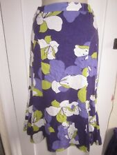 Ladies size 12 Papaya purple lime white long lined summer skirt elasticated
