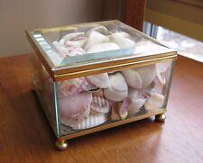"Vintage Beveled Glass Trinket Curio Box Mirrored Bottom 3.75"" Square w/ Seashell"