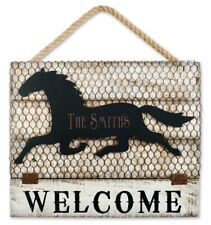 horse welcome sign engraved, VINTAGE METAL HAPPY Personalized, DYI custom