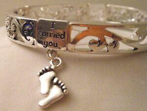 I Carried You Filigree Stretch Bracelet with Footprint Charms