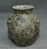 """6,8 """"pot de réservoir de visage de bête de palais de dynastie en bronze chinois"""