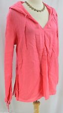 Mimi Maternity shirt tunic tie blouse hoodie hood pullover 100% linen SIZE L NEW