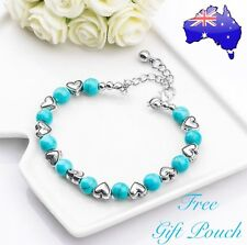 Turquoise Natural Stone Beads Silver Love Heart Charm Bracelet Bangle Women Gift