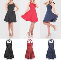 UK Women Tulle Evening 50's Style Cocktail Party Sleeveless Halter Neck Dress