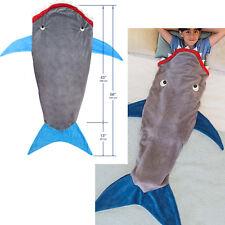 Kids Shark Mermaid Tail Cosy Fleece Blanket Snuggle-in Sleeping Bag Fancy Dress