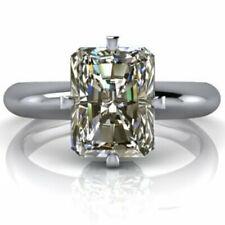 Diamond Solitaire Engagement Silver Ring 2.11 Ct Near White Radiant Moissanite