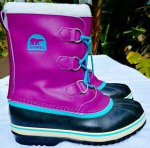 SOREL Women's Lined Pink Violet Waterproof Rain Snow Boots Rubber Soles Size 5