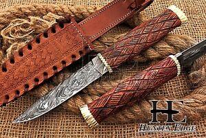 HUNTEX Unique Custom Handmade Damascus Steel 240 mm Long Walnut Wood Bush Knife
