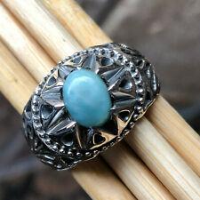 925 Solid Sterling Silver Genuine Larimar//Pectolite Ring,Larimar Ring Size 4-13