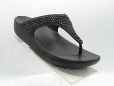 Crocs Sloane Diamante Size 11 W Black Thong Flip Flops Sandals Shoes For Women
