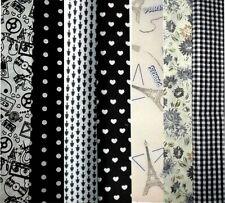 Lot de 7 coupons tissu patchwork 25x20cm Tons Gris/Blanc/Noir