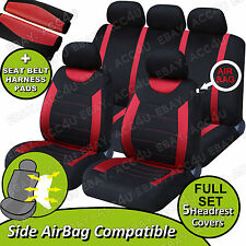 Carnaby Red Black Mesh Car Side Airbag OK Full Seat Covers Set + 2 Shoulder Pads