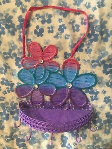 purple pink blue flower wall mount hanging basket earring holder Girls Jewelry