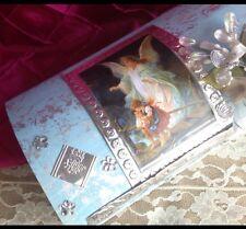 Baptism Candle Set Blue / SET PARA BAUTIZO CAJA DE MADERA/ANGEL DE LA GUARDA