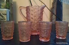 Vintage Toy Doll Child's Depression PINK HOBNAIL GLASS Lemonade Tumbler Tea Set