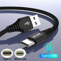 3A Micro USB Type C Fast Charging Data Sync Cable Strong Braided For Android