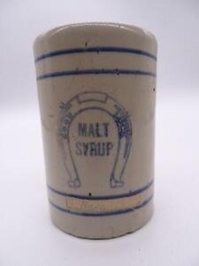 Antique Stoneware Cup Mug Advertising Good Luck Malt Syrup Vintage Primitive Vtg