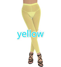 Women Sexy Lingerie Pants Sheer See Transparent Mesh Tight Leggings Club Wear