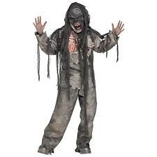 New Burning Burnt Dead Zombie Monster Ghoul Mask Boys Halloween Costume