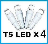4 X T5 Super White Wedge LED T5 T6.5 74 37  Dash Console Cluster Light Bulbs