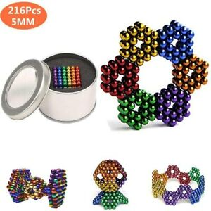 216Pcs Magnetic Bead Mixed Coloured BALL 5mm + Metal Gift Tin + Box Learning Set