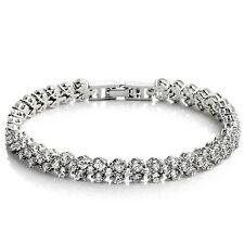 White Gold Plated Wedding Crystal Diamante Rhinestone Tennis Bangle Bracelet
