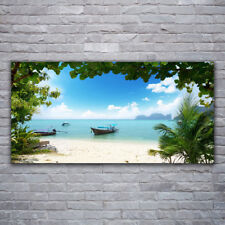 Print on Glass Wall art 120x60 Picture Image Sea Boat Landscape