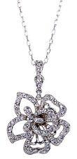 Swarovski Elements Crystal Flower Pendant Necklace Rhodium Plated New 7111z