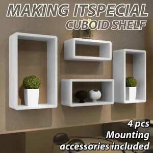 vidaXL 4x Cuboid Shelf Set White Wall Floating Storage Display Shelves Stand