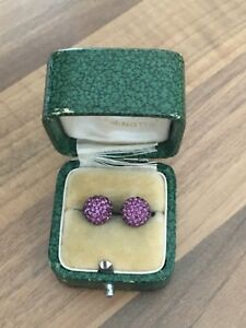 Sterling Silver Stud Earrings Purple C Z Cluster