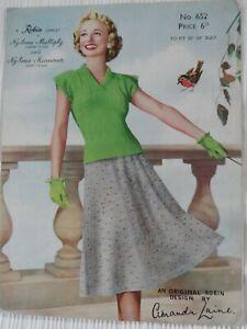 Original 1950's Knitting Pattern Lady's Jumper & Skirt Amanda Laine Free P & P