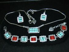 RARE RETIRED BRIGHTON BEADAZZLED TURQUOISE RED NECKLACE EARRINGS BRACELET SET