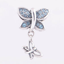 FLY w ME BUTTERFLY DANGLE Blue Crystal 925 Sterling Silver European Charm Bead