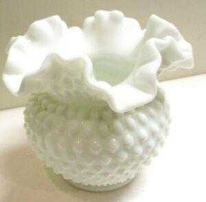 Vintage white milk glass hobnail rose bowl