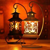 Iron Moroccan Lantern Candle Holder Hollow Cut Middle East Lamp Stand Home Decor