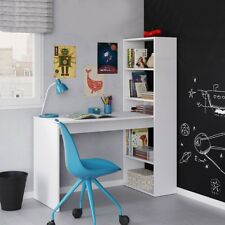 Mimi Ash White Computer Desk Workstation Table with Bookcase Combination