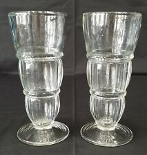 Vintage Tall Soda Fountain Parfait Glasses Pair 8 Inch