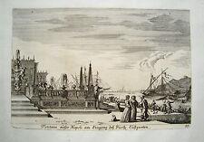Neapel Napoli Hafen Lustgarten Schiff  M. Küsell nach J. Baur  Kupferstich  1682