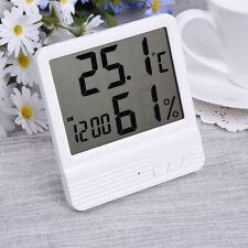 Mini Digital LCD Thermometer Hygrometer Clock Humidity Temperature Meter Tester