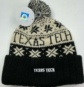 Authentic Texas Tech Knit Pom Hat / Top of The World/ Cream / Black / NWT/ OSFA