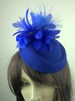 blue felt pillbox hat feather flower fascinator wedding bridal race vintage