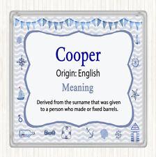 Cooper nom signifiant Boissons Mat Coaster nautique